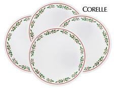 "4 Corelle WINTER HOLLY 6 3/4"" BREAD Dessert PLATES *CHRISTMAS Holiday Red Green"
