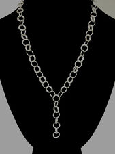 Chainmaille Sterling Silver Circle Y- Necklace. 19 Inches with 2 inch Dangle.