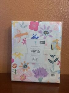 Pottery Barn Kids Twin NAOMI Floral Sheet Set Bird Multi Color Cotton Percale