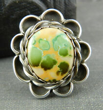 "Native American? Signed ""P"" Jasper & Sterling Silver Ring"
