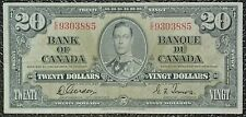 BANK OF CANADA - 1937 $20 NOTE - Prefix E/E - Signed Gordon & Towers