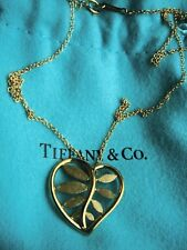 """TIFFANY & CO  PALOMA PICASSO 18K YELLOW GOLD  HEART PALM PENDANT NECKLACE 16"""""""