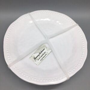 6pc Tommy Bahama Melamine Dinner Plate Set White Wave Hobnail Dotted Edge NEW