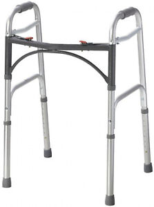 Deluxe 2 Button Folding Walker Medical Walking Mobility Padded Grip Activity
