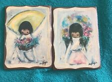 "Vintage DeGrazia Flower Boy Flower Girl Antique Wooden Art Decor Frames 5"" x 4"""