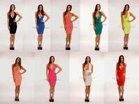 New Womens Ladies Halterneck Low V Plunge Celeb Bodycon Sexy Glam Party Dress