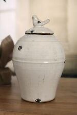 Canister Rustic Cream Ceramic Bird Top French Provincial Home Decor 29cms NEW