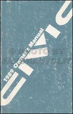 1989 Honda Civic Owners Manual Original Sedan and Hatchback Owner Guide Book