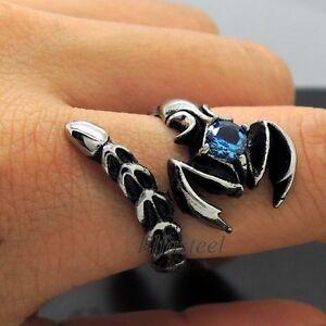 Men's Blue Cubic Zirconia 316L Stainless Steel Scorpion Biker Ring