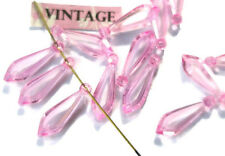 #617QR Vintage Drop Beads Charms NOS Pink Drops Shabby Charms NOS