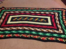 Vintage Handmade Multi-Colored Crochet Afghan Throw Couch Blanket 72 X 38