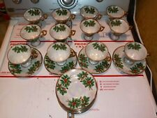 Set of 12 Christmas Tea Cup / Saucer Porcelain Holly Footed Iridescent