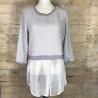 Elie Tahari Design Nation Layered Tunic Top Sweater Tan Beige Snakeskin Womens M