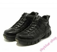 Mens PU leather Winter Fur Lined Lace Up Waterproof snow boots warm Sport shoes
