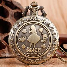Classic Alice In Wonderland Necklace Quartz Pocket Watch Women Girls Xmas Gift