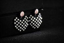 Pendientes pendientes Corazón Mini Perla Blanco Rosa Plateado Negro Vintage BB 3