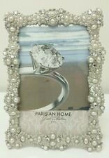 """NEW SILVER Crystal PEARLS Jeweled Wedding Picture Photo Frame 4""""x6"""" Antique Look"""