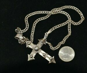 Vintage Sterling Silver Mexico Heavy Cross & Chain Necklace.