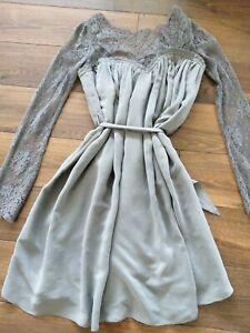 THURLEY 100% Silk Dress chantilly lace grey 10 small Zimmermann net-a-porter