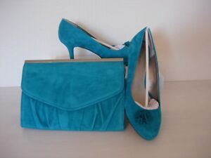 JACQUES VERT SUEDE RUFFLE TRIM  SHOES AND MATCHING BAG-GREEN/BLUE  SIZE 5 -NEW