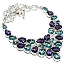 "Blue Topaz, Amethyst Gemstone Handmade 925 Silver Jewelry Necklace 18"" AQ-294"