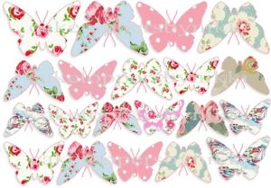 20/40 Edible Cath Kidson Butterfly's Icing Sheets Cake Cupcake Toppers Baby