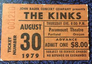 The Kinks Concert Ticket Stub 8-30-79 Portland