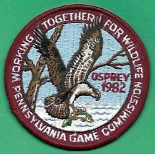 """Pa Pennsylvania Game Fish Commission New ORIGINAL 4"""" WTFW 1982 Osprey Patch"""