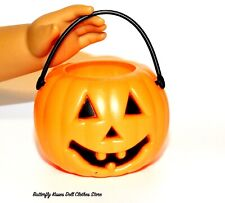 """Halloween Pumpkin Candy Pail 18"""" 14"""" or 15 American Girl Doll Clothes Accessory"""