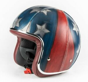 BARUFFALDI HELMET AMERICAN FLAG WHITE BLUE RED LEATHER HARLEY CUSTOM RACE ITALY