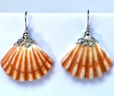 Spiny Oyster Shell Earrings Clam Octopus Sterling Hook Carved Orange Dangle
