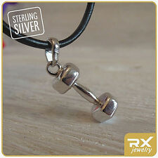 Dumbbell jewelry Bodybuildin Fitness Gift powerlifting Necklace Silver Cross fit