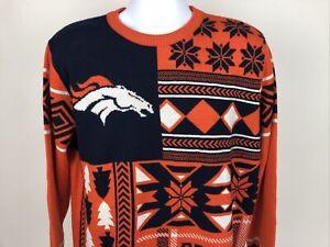 Denver Broncos NFL Football Ugly Christmas Holiday Sweater Size L Team Apparel