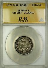 1875 Die 41 Great Britain 1S Shilling Silver Coin ANACS EF-45 Details Cleaned