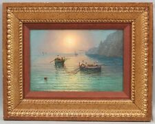 Antique Signed Italian Luminist Sunset Capri Fishing Boats Maritime Oil Painting