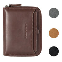 Men's Zipper Faux Leather ID Credit Card Wallet Holder Billfold Purse Clutch