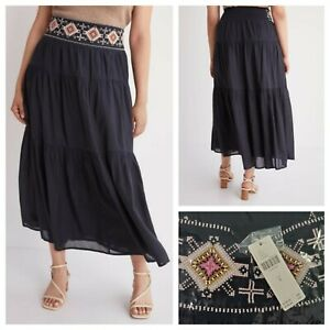 Anthropologie Tresor Tiered Maxi skirt Black Size Medium NWT