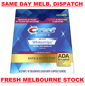 CREST 3D 28 x Glamorous White Dental Teeth Whitening Strips Kit 14 Pouches NEW