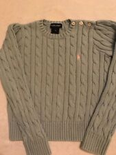 Girls RALPH LAUREN pale blue cable knit longsleeve sweater sz 6! Great Condition