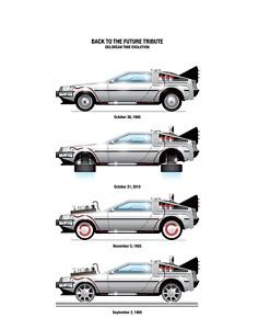 Back To The Future Delorean Time Evolution Movie Poster Print > Ecto-1 > DMC 🍿