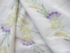 "Vintage Hand Embroidered Linen Tablecloth Stitched Cornflowers Rey 49""x 68"""