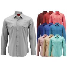 Men's Pearl Snap Button Long Sleeve Western Slim Fit Stretch Cowboy Dress Shirt