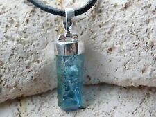 Aqua Aura Rohkristall (hochwertiger) mit Silberkappe, Anhänger mit Band