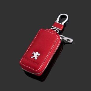 Leather Car Key Protection Bag Car Key Holder Keychain Ring Case Fit for Peugeot