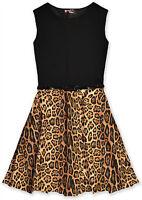 Girls Animal Print Skater Dress Kids Party Dresses New 7 8 9 10 11 12 13 Years