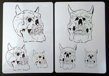 "2 Stencils A4 aerografo ""Skull Set"" TESCHIO Harder & Steenbeck"