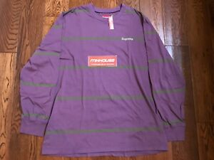 New Supreme Striped L/S Top Tee T-Shirt Purple Fall Winter 2017 Size XL