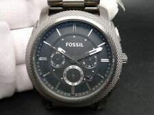New Old Stock FOSSIL Machine FS4662 Chronograph Smoke SS Quartz Men Watch