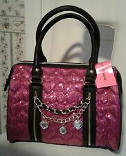NWT BETSEY JOHNSON FUCHSIA HIGH SEQUENCY SATCHEL WITH CHARMS MSRP 128.00