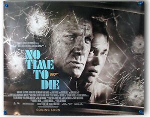 """No Time To Die ORIGINAL UK D/S quad poster James Bond 007 """"car"""" slight damage"""
